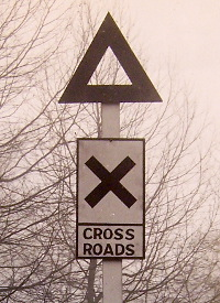 An experimental new Cross Roads sign, 1920. Click to enlarge