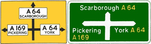 Two signs for the same junction, one pre-Worboys (left) and the other Worboys (right)