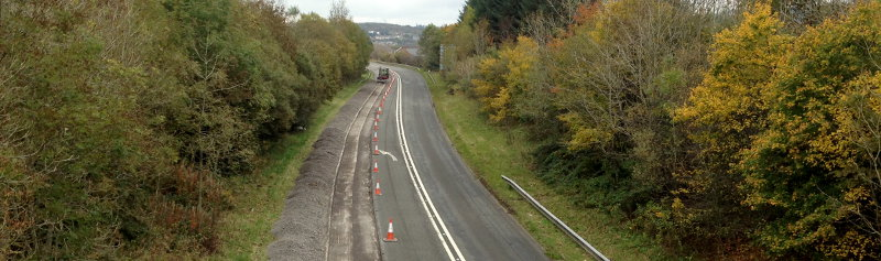 A bypassed section of ex-A465 at Rassau being downgraded to just two lanes for its new role as a local access road. It seems there's no place for a three-lane road any more. Click to enlarge