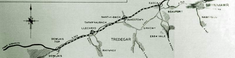 The Ministry of Transport's plan showing the section of the Heads of the Valleys Road to be built on a former railway. Click to enlarge