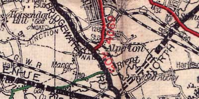 A late 1920s Geographia map marks Bridgewater Road, open before parts of the North Circular and Western Avenue. Click to enlarge