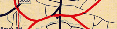 This mid-1950s map published by Esso still thinks Charter Way is a major road. Click to enlarge