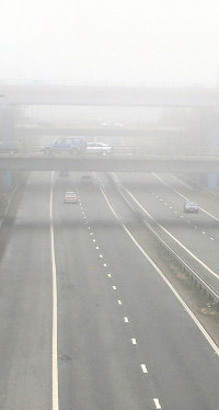 Fog on the M66 in 2010, thankfully without a pile-up