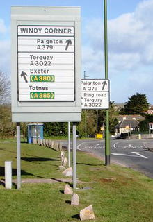 Rotating prism sign on the A3022 near Brixham, Devon. Click to enlarge