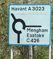 The C426 on a sign near Portsmouth