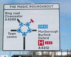 A direction sign for the Magic Roundabout. Don't be scared.