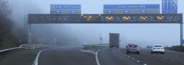The M4 in the fog. The new 70mph limit was supposed to make motorways safe in poor visibility like this. Click to enlarge