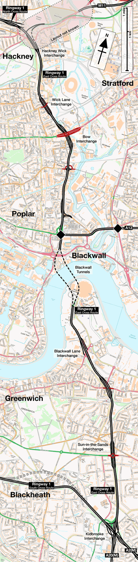 Ringway 1 East Cross Route map