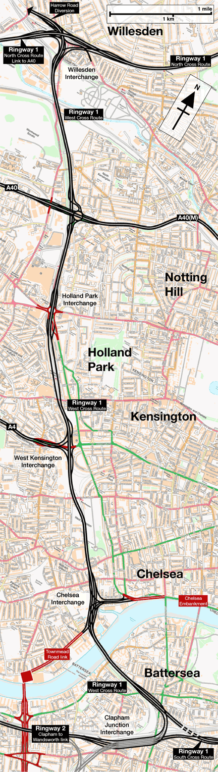 Map of Ringway 1 West Cross Route