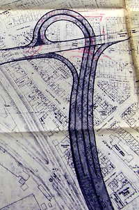 A trumpet interchange for the earliest version of the West Cross Route. Click to enlarge