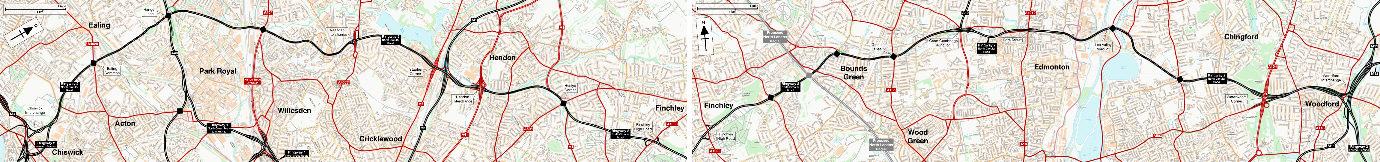 Map showing the route of Ringway 2 North Circular Road