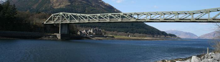 The Ballachulish Bridge, with both old ferry slipways visible. Click to enlarge