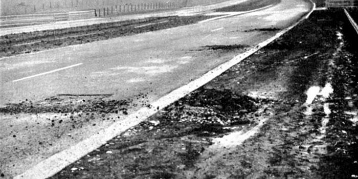 Frost damage breaks up the carriageway, January 1959. Click to enlarge