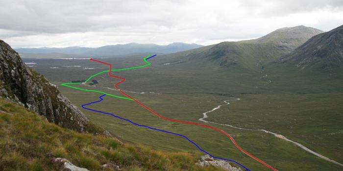 The Military Road (blue) runs higher up the hillside than the other routes. Click to enlarge