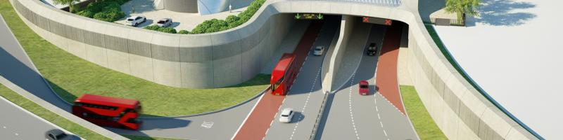 An artist's impression of the southern portal of the Silvertown Tunnel, complete with bus and HGV lanes. Click to enlarge
