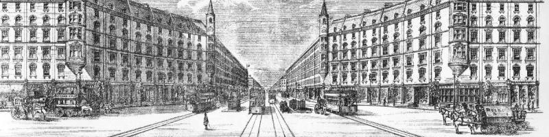 An artist's impression of one of the Royal Commission's main avenues, with railways beneath. Click to enlarge