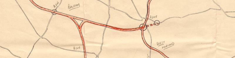 The Balham Loop in 1963, with an extension east from Tulse Hill to the A205 South Circular. Click to enlarge