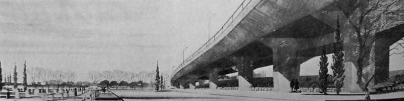 Artist's impression of the West Cross Route elevated above Kensal Green Cemetery