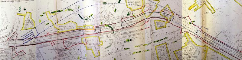 Ringway 1 in Blackheath, with the original GLC line and, outlined in red, the area that would have to be demolished. Buchanan's 1971 tunnel is shown by dotted blue lines. Click to enlarge