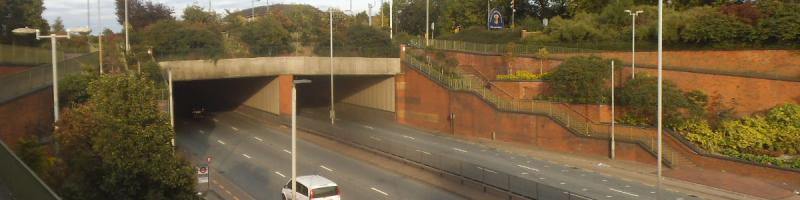 The North Circular passes under East End Road, Finchley. Despite appearances most sections that look like this date from the early 1990s. Click to enlarge