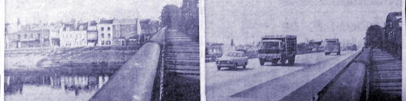 Artist's impression of the view from Barnes Bridge, looking south towards Barnes Terrace, before and after construction of Ringway 2. Click to enlarge