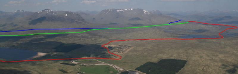 Three routes together: the Military Road in blue, Telford's route in green and the modern A82 in red. Click to enlarge