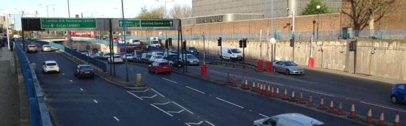 The temporary interchange north of the Blackwall Tunnel, now a permanent feature. Click to enlarge