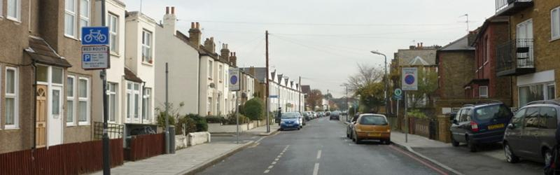 Robinson Road, Colliers Wood - a peaceful street never before troubled by road plans. Everything visible in this picture would have been demolished for Ringway 2. Click to enlarge