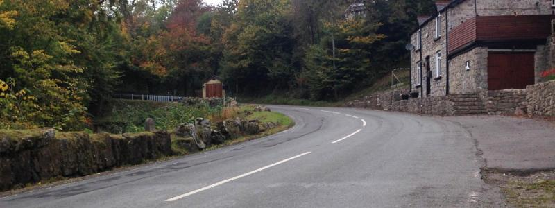 The old A465 winds its way up the hill through Blackrock. Click to enlarge