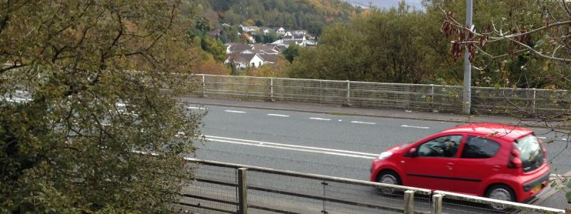 The Heads of the Valleys Road threads through the urban area at Cefn Coed, north of Merthyr Tydfil. Click to enlarge