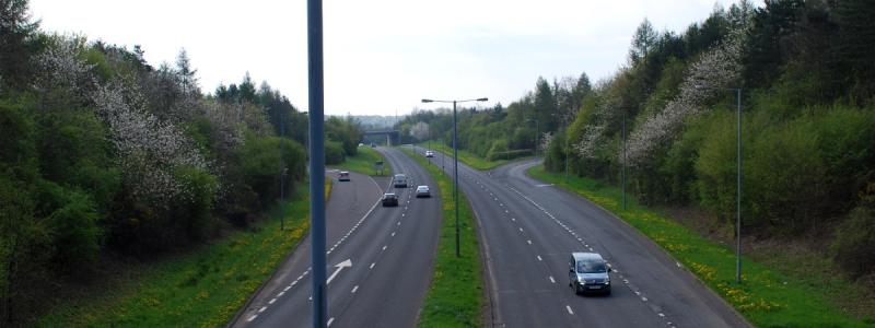 The Redditch cloverleaf, as sort-of seen from a footbridge nearby. Enormous, low-lying junctions are not easy to photograph. Click to enlarge
