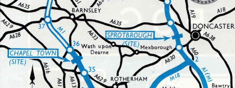 "A 1960s RAC motorway map shows Chapel Town (and Sprotbrough, above) as ""sites"" for later development. Click to enlarge"