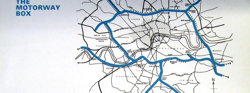 "An outline map from ""Motorways for London"", showing the typical level of detail in GLC publicity from the late 1960s. Click to enlarge"
