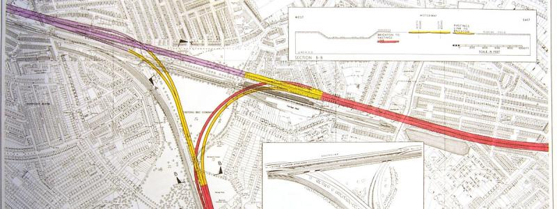 The M23 interchange, shown on engineering plans, would have occupied almost all of Tooting Bec Common. Click to enlarge