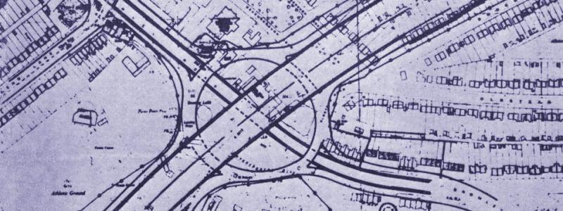 "The interchange with the A21, as it appeared in the Lewisham Mercury who claimed to have ""smuggled"" the plans out of County Hall. Click to enlarge"