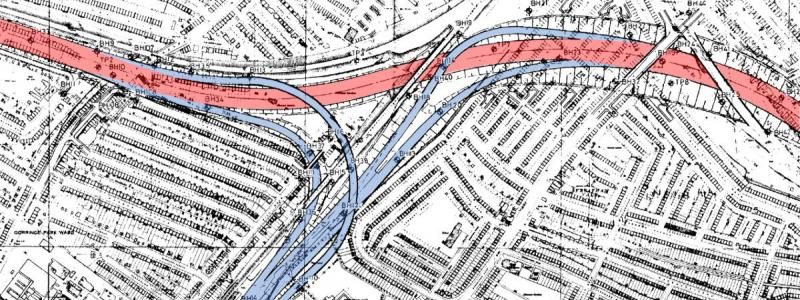 Engineering plan of Streatham Vale interchange, coloured to show Ringway 2 in red and the M23 in blue. Click to enlarge