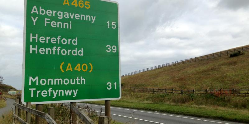 A route confirmation sign on the A465 Heads of the Valleys Road near Merthyr Tydfil. Click to enlarge