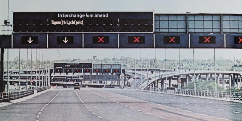 "Experimental fibre optic signs on the Aston Expressway, with the legend ""Tamw'th Lichfield"". Click to enlarge"
