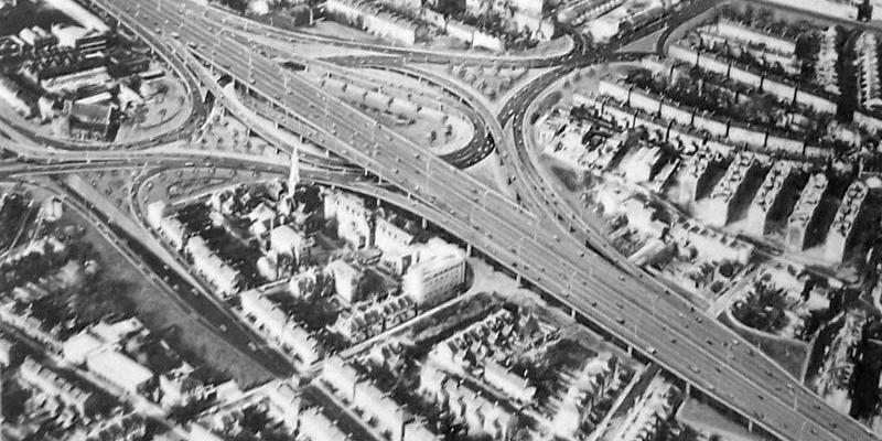 Artist's impression of free-flow interchange at Dalston, one of three possible layouts. Click to enlarge