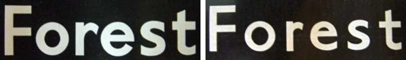 Two examples of lettering for the Forest Hill turn, one with thick, closely-spaced letters and one with thinner, widely spaced letters. Click to enlarge