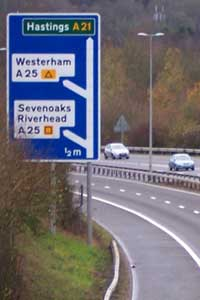Two diversion symbols just off the M25. Click to enlarge
