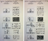 Diagrams of the experimental signs erected in Slough during the 1950s. Click to enlarge