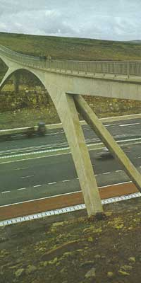 The Pennine Way footbridge over the M62, one of many structures Harry Yeadon oversaw
