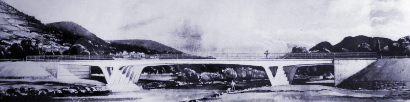 Artist's impression of the Usk Bridge near Abergavenny. Click to enlarge