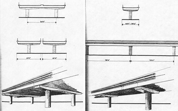 Architect's diagrams of the supports for the LIM mainline (left) and sliproads (right). Click to enlarge