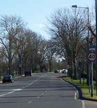 Four lanes of Bridgewater Road curve into the distance. Click to enlarge