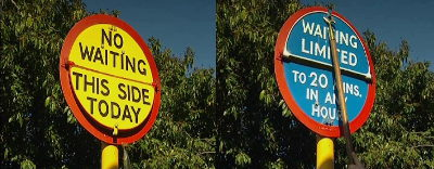 "Changeable ""no waiting"" and ""waiting limited"" sign"