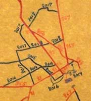 A 1920s road numbering diagram