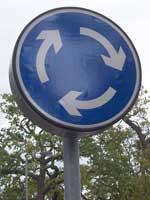 Mini roundabout sign. Give way please! Click to enlarge