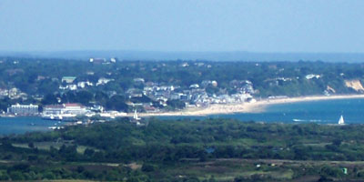 The narrow channel at Sandbanks, with Bournemouth beyond
